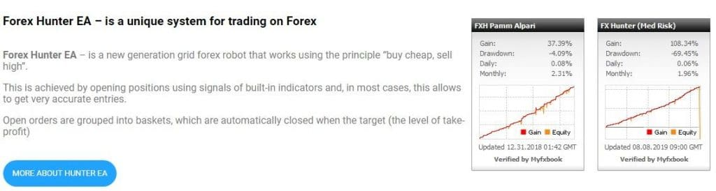 forex hunter ea features