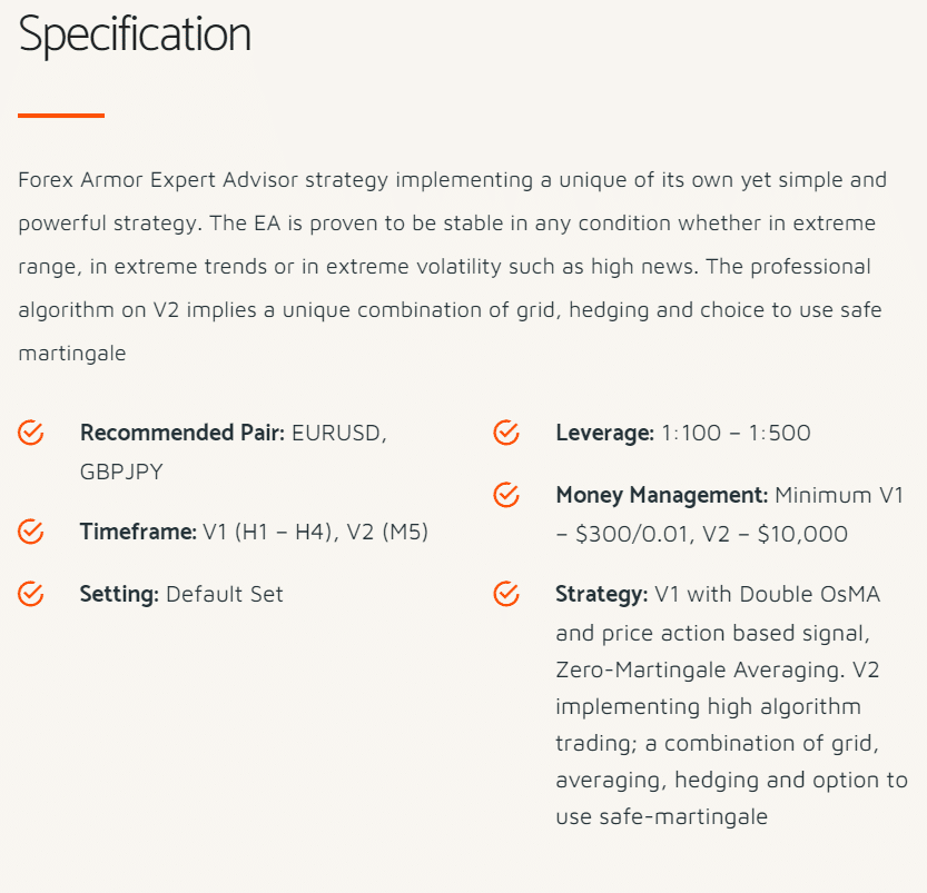 forex armor specification