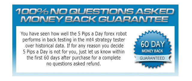 5 Pips A Day Forex Robot money-back guarantee