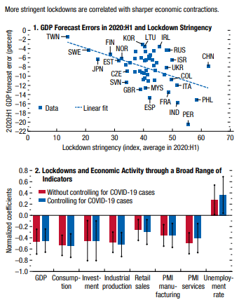 Fig. Stringent lockdowns correlated with sharper economic contractions