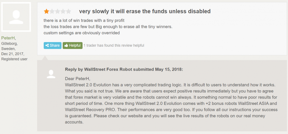 Wall Street Forex Robot Reviews from customers