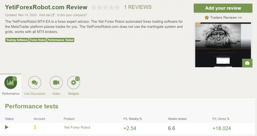 Yeti Forex Robot Reviews from customers