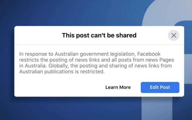Facebook Blocks News in Australia over Proposed Law amid Criticisms