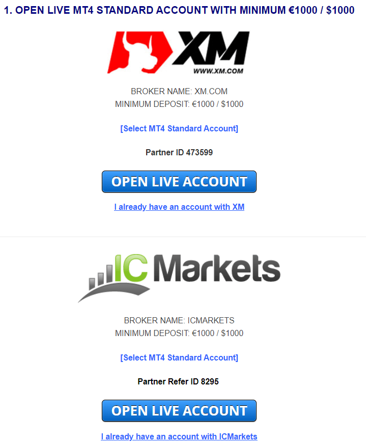 Euro Scalper Pro. Open a real account on XM or IC Markets applying their referral link