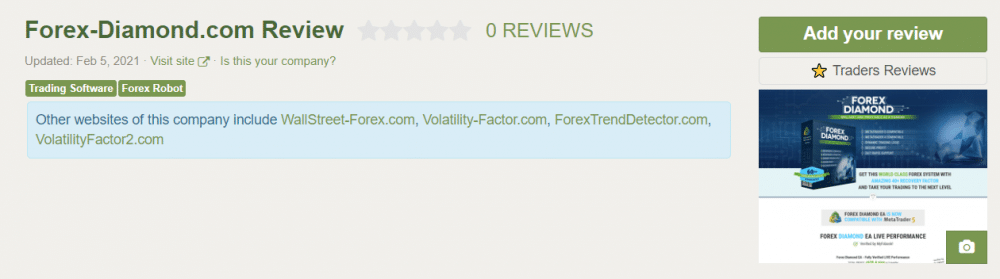 Forex Diamond. Reviews from customers