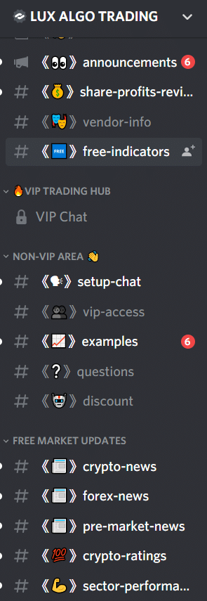Lux Algo. The Discord channel has many subchannels.