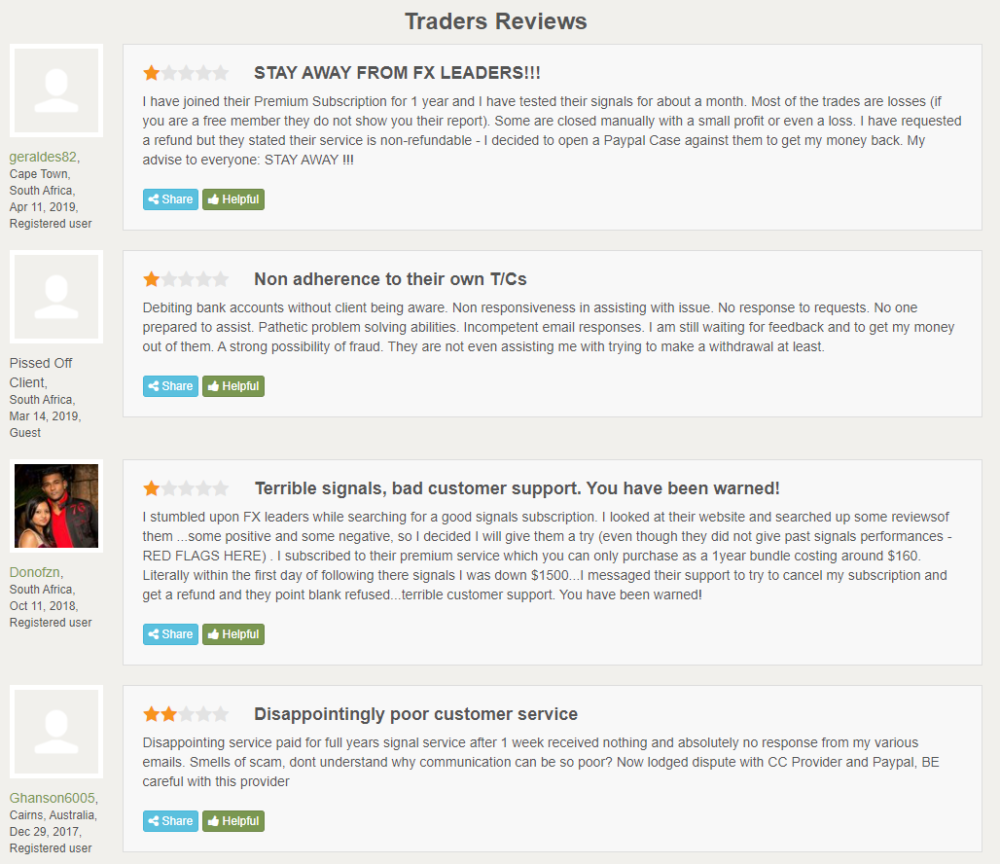 FX Leaders Reviews from customers
