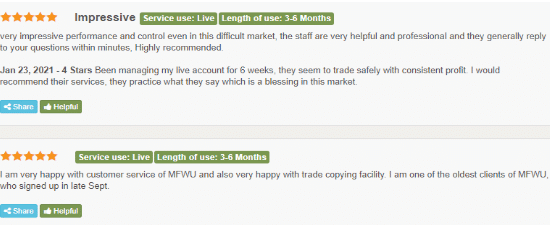 MFWU (Managed Forex With Us) Reviews from customers