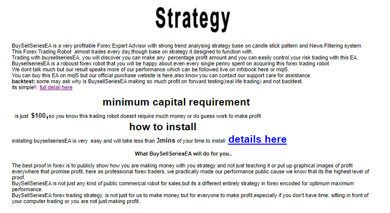 Strategy and other features of BuySellSeriesEA.