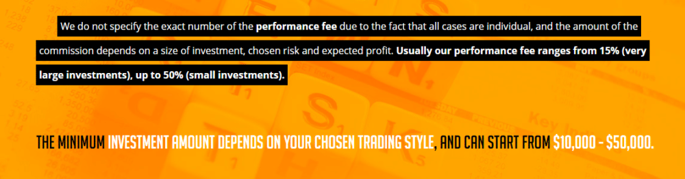 Performance fee rates of Control Forex.