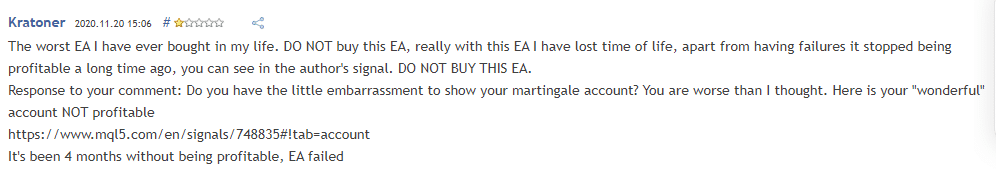 User review for FrankoScalp claiming it is an unreliable EA.