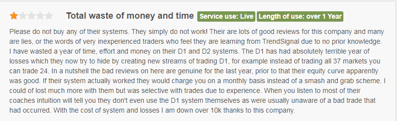 Customer saying that Trend Signal is a 'waste of time and money.'