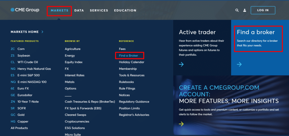 CME group web page