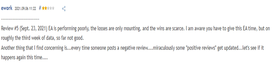 User complaining of huge losses and scarce wins.