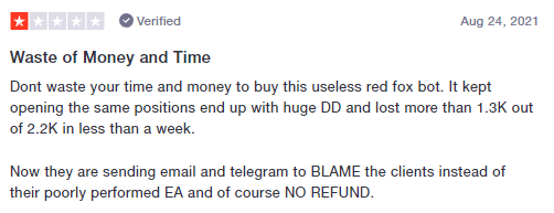 User complaining of big losses with Red Fox EA.