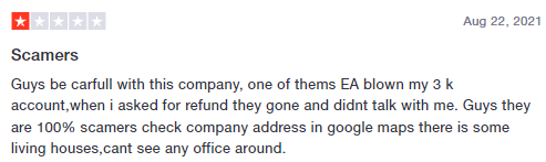 User claiming that the EA has blown his account.
