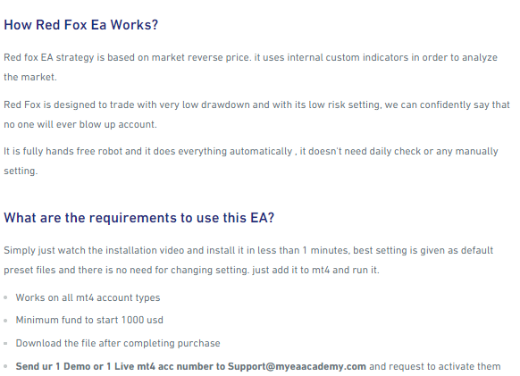 Working method and recommendations for Red Fox EA.